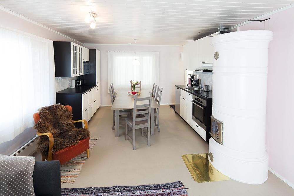 Villa Ebba holidayhouse, kitchen from the sofa.